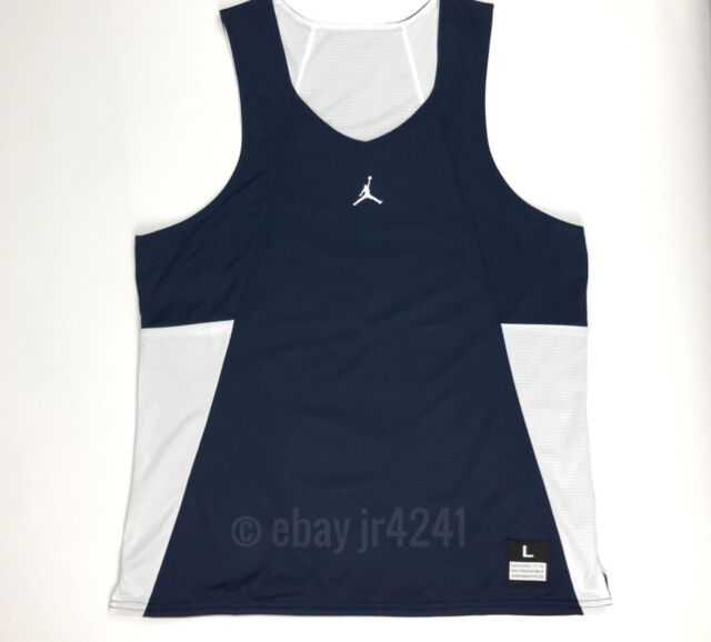 26989814a Nike Jordan Men's L Team Flight Reversible Navy White Basketball Jersey Tank  Top