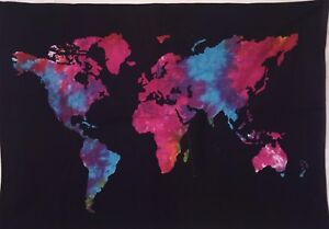 Small World Map Poster Tapestry Wall Door Hanging TieDye Hippie - Small world map poster