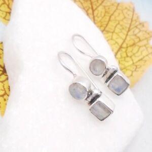 Mondstein-blau-weiss-rund-eckig-Design-Ohrringe-Ohrhaenger-925-Sterling-Silber-neu