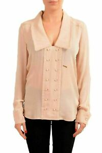 Dsquared2-100-Silk-Pink-Long-Sleeve-Women-039-s-Blouse-Top-US-S-IT-40