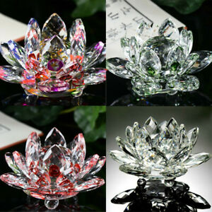 Lotus-Crystal-Glass-Figure-Paperweight-Ornament-Home-Office-Decor-Collection-US