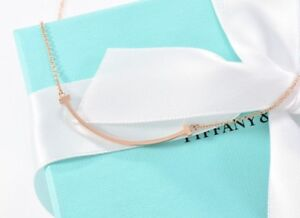 40b7f0d29 Tiffany & Co 18K Rose Gold Mini T Smile Pendant Necklace IN BOX ...
