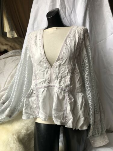 FREE PEOPLE Women's Embroidered Tunic Shirt Top M