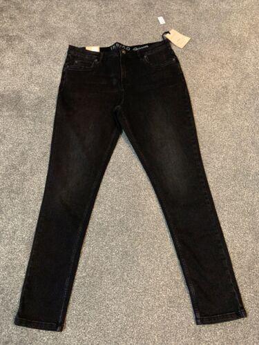 M/&S INDIGO COLLEZIONE Black Skinny Jeans Taglia 14 media Bnwt Gratuito stesso giorno P /& P