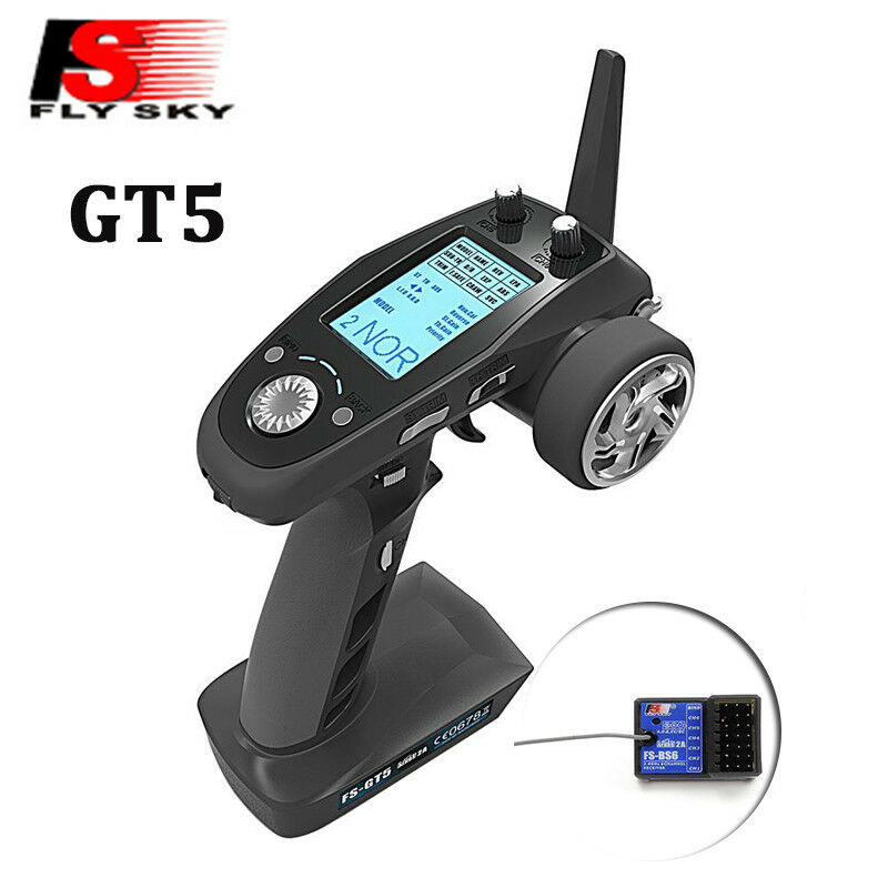 Flysky GT5 Transmitter 2.4G 6CH with BS6 Receiver Gyro Fail-Safe for RC Car Boat