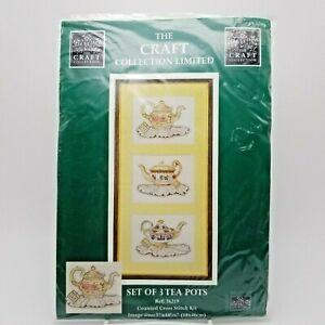 Counted-Cross-Stitch-Kit-Fancy-Porcelain-Tea-Pot-Collection-Cottage-Chic-76219