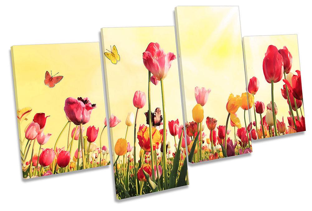 Tulips Floral Flower Spring Framed MULTI CANVAS Drucken Wand Kunst