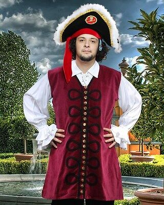 Pirate Vest Mens Velvet Burgundy Sizes S/M - XXL BRAND NEW  (MC1002)
