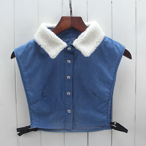 Detachable Women Cotton Lapel Shirt Fake False Collar Choker Necklace #EAF007