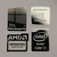 Windows 10 Pro Combo Badge Metal Sticker, PC/Laptop Intel Core i7/i5/AMD/Nv