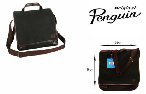 Original Penguin Messenger Bag with 2 Compartments /& Fully Lined Black//Brown
