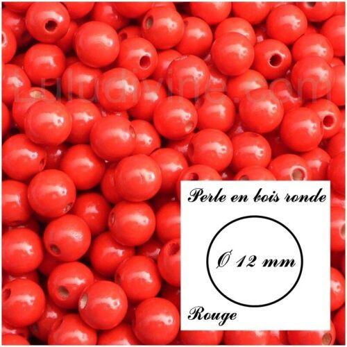 Rouge lot de 30 perles Perle en bois ronde Ø 12 mm
