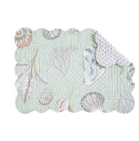 Breezy Shores Quilted Reversible Placemat By C&f - Shells - Sea Glass Green