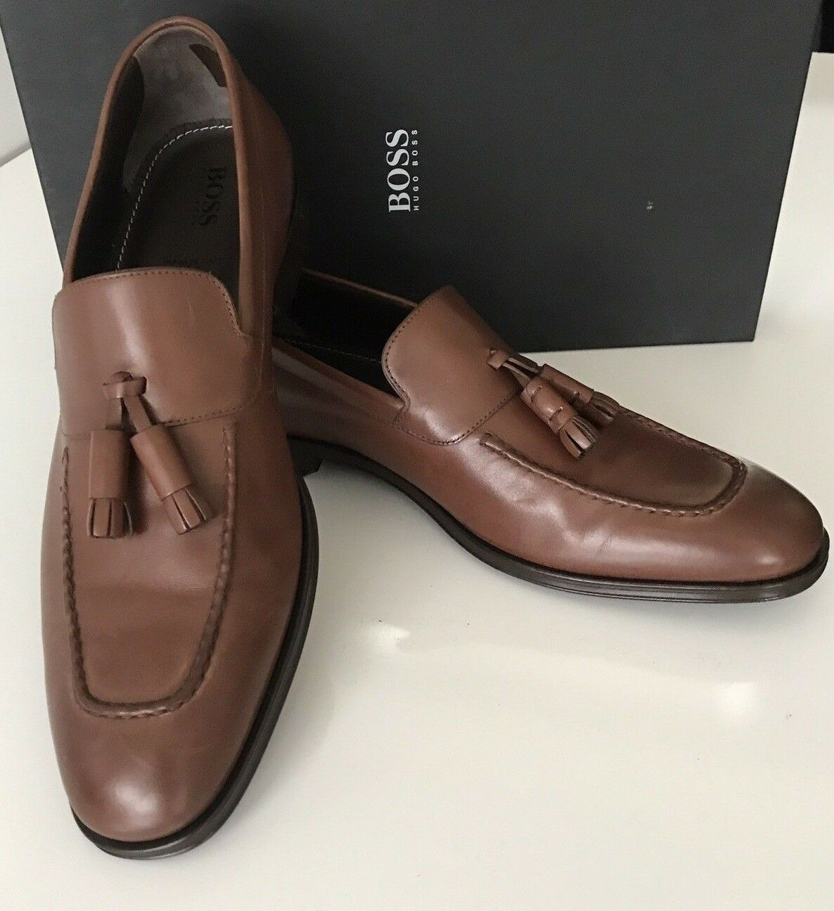 NIB  475 Boss Hugo Boss Scultos Mens Leather Penny Loafer shoes Brown 9 US IT