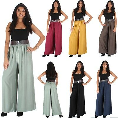 Womens Palazzo Plain Flared Wide Leg Pants Ladies Casual Belt Baggy Trousers
