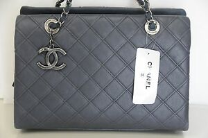 fcc07bd62e4f46 New Chic CHANEL Classic Large Zip Shopping 30 cm Quilted Tote Blue ...