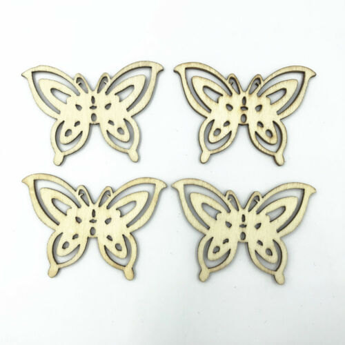 DIY 20PCS Wood color butterfly shape Wooden crafts decoration scrapbooking 58mm