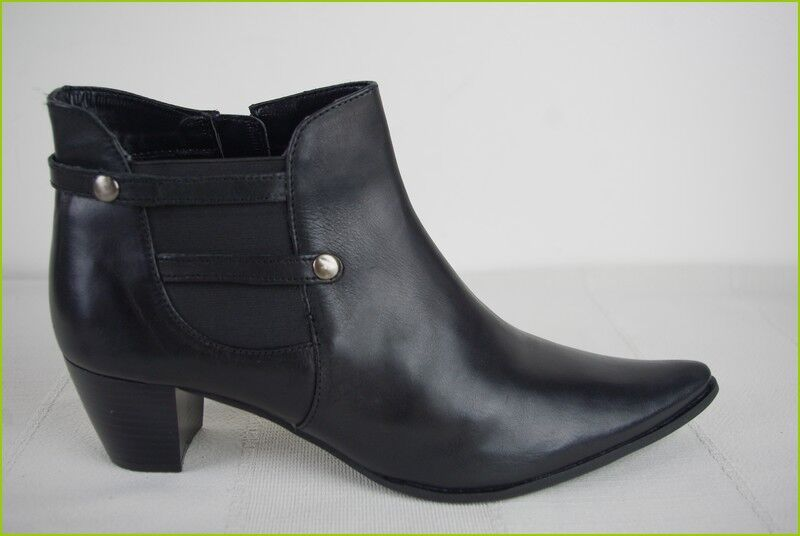 Bottines Stiefel FRANCE ARNO Cuir Noir T 40 TTBE