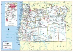 """Cool Owl Maps Oregon State Wall Map Poster - Laminated 34""""x24"""""""