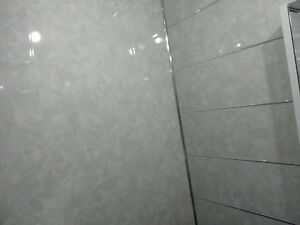 2 Light Grey Marble Waterproof Tongue and Groove Bathroom PVC ...