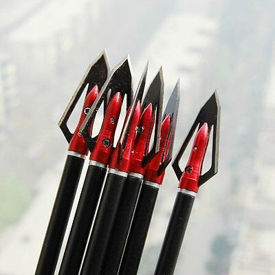 "6x New Steel broadheads100 Grain cut diameter 0.8"" arrow heads hunting archery"