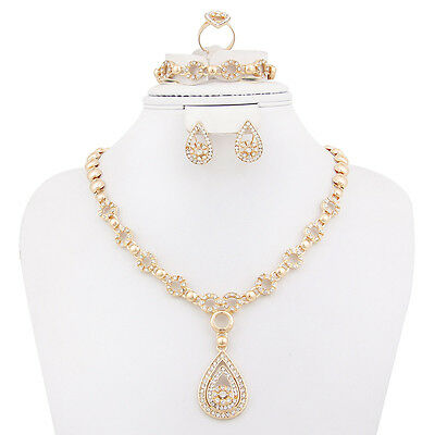 Fashion Women African Jewelry set Gold Plated Wedding Necklace Earrings set