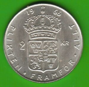 Sweden-2-Kronor-1966-Last-Year-IN-Silver-Very-Nice-nswleipzig