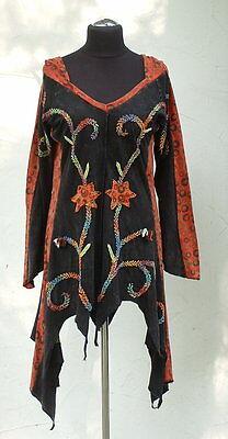♥ Zipfelshirt ♥ NEPAL Zipfelkleid mit Zipfelkapuze SCHWARZ Tunika Hippie Ethno