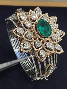 Pave-11-11-Cts-Natuerliche-Diamanten-Smaragd-Hinged-Bracelet-In-585-Fein-14K-Gold
