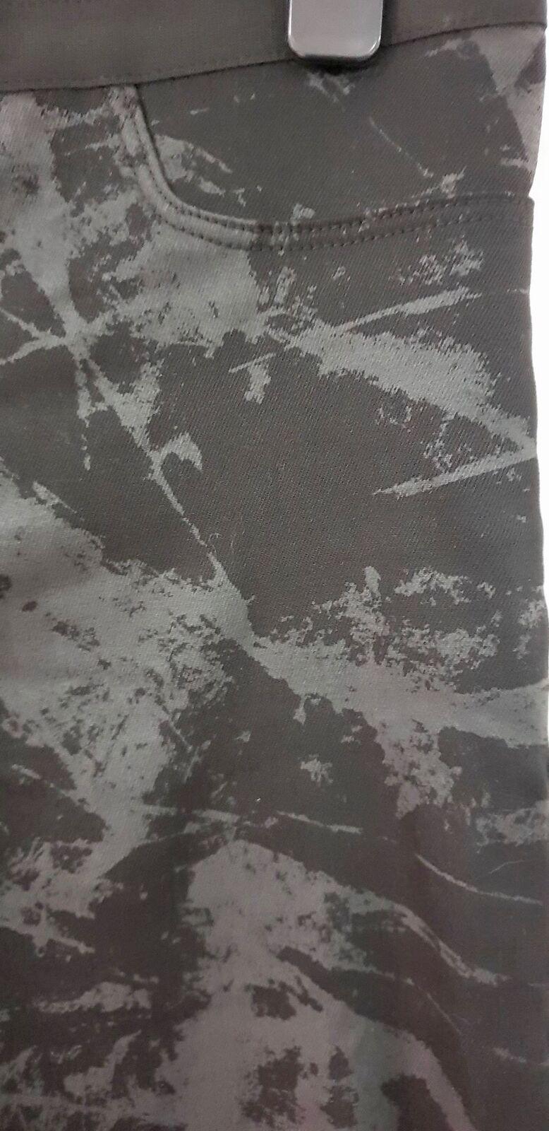 HELMUT LANG NERO GRIGIO GRIGIO GRIGIO FUMO cotone PIEGA Astratto Stampa Crop Pantaloni Pants cff471