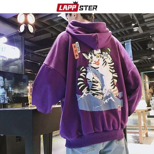 Lappster Men Streetwear Casual Cat Hooded Hoodies Hip Hop Harajuku Korean Fashio