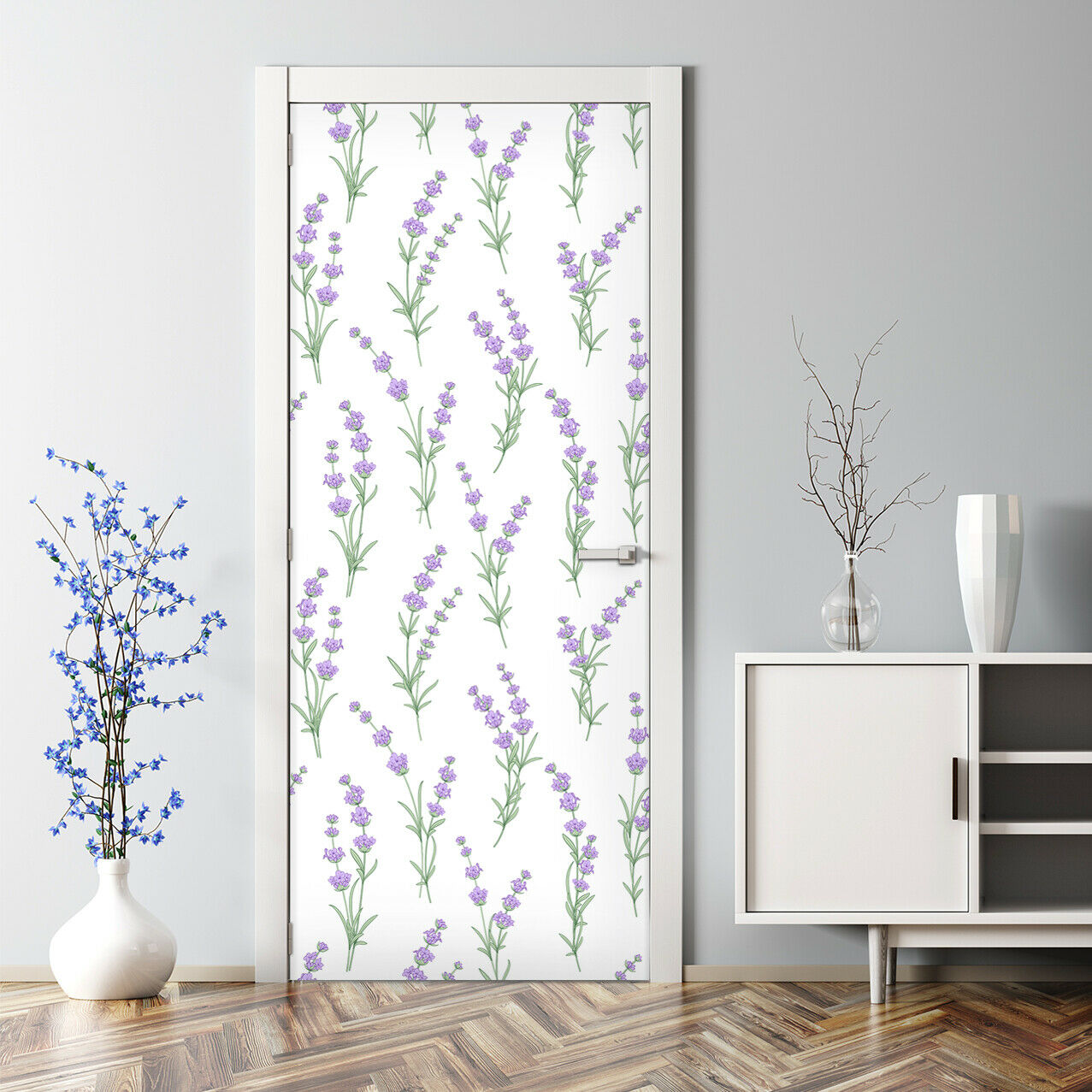 Lavender flowers self-adhesive lila and Grün Door Decal Wand StKunstseiteing 265