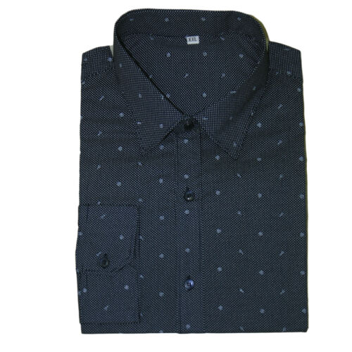 Camicia Uomo Cotone Elegante Slim Fit Sartoriale Manica Lunga Fantasia Peace