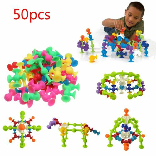 50Pcs//Set Kids Sucker Cup Puzzle Toy Deluxe Building Blocks Squigz Developing