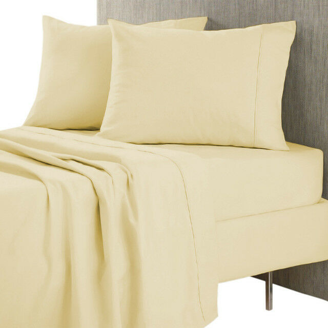 1 Fitted Sheet & 2 Pillowcase Ivory Solid Egyptian Cotton 1000 Thread Count_