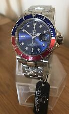 U.K. Red / Blue Reginald Quartz Stainless Steel Sports Divers Watch