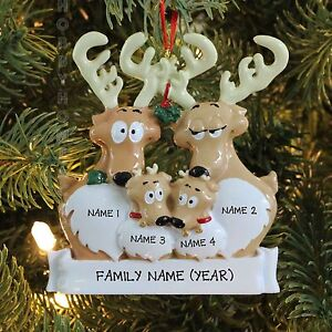 Reindeer family of 4 personalized christmas tree ornament for Family of 4 christmas ornament