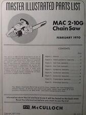Mcculloch Chain Saw Mac 2 10g Gear Drive Parts Manual 2 Cycle Gas Chainsaw 1970