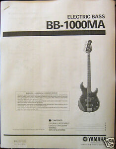 Yamaha BB1000 MA Electric Bass Guitar Service Manual and Parts List