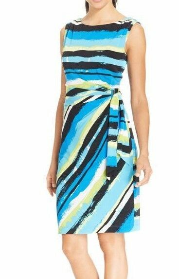 Tahari 5220M076 bluee-Multi Painted Stripe Side-Ruched Stretch Jersey Dress  128