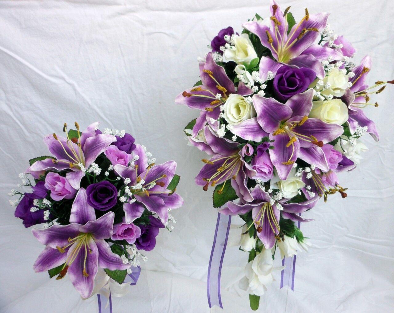 Bouquet De Mariage Paquet, violet lillies, Ivoire, Violet roses x 2 Bouquets