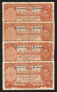 Australia-R-15-1952-10-Shilling-Coombs-Wilson-x-4-Notes-VG-Fine