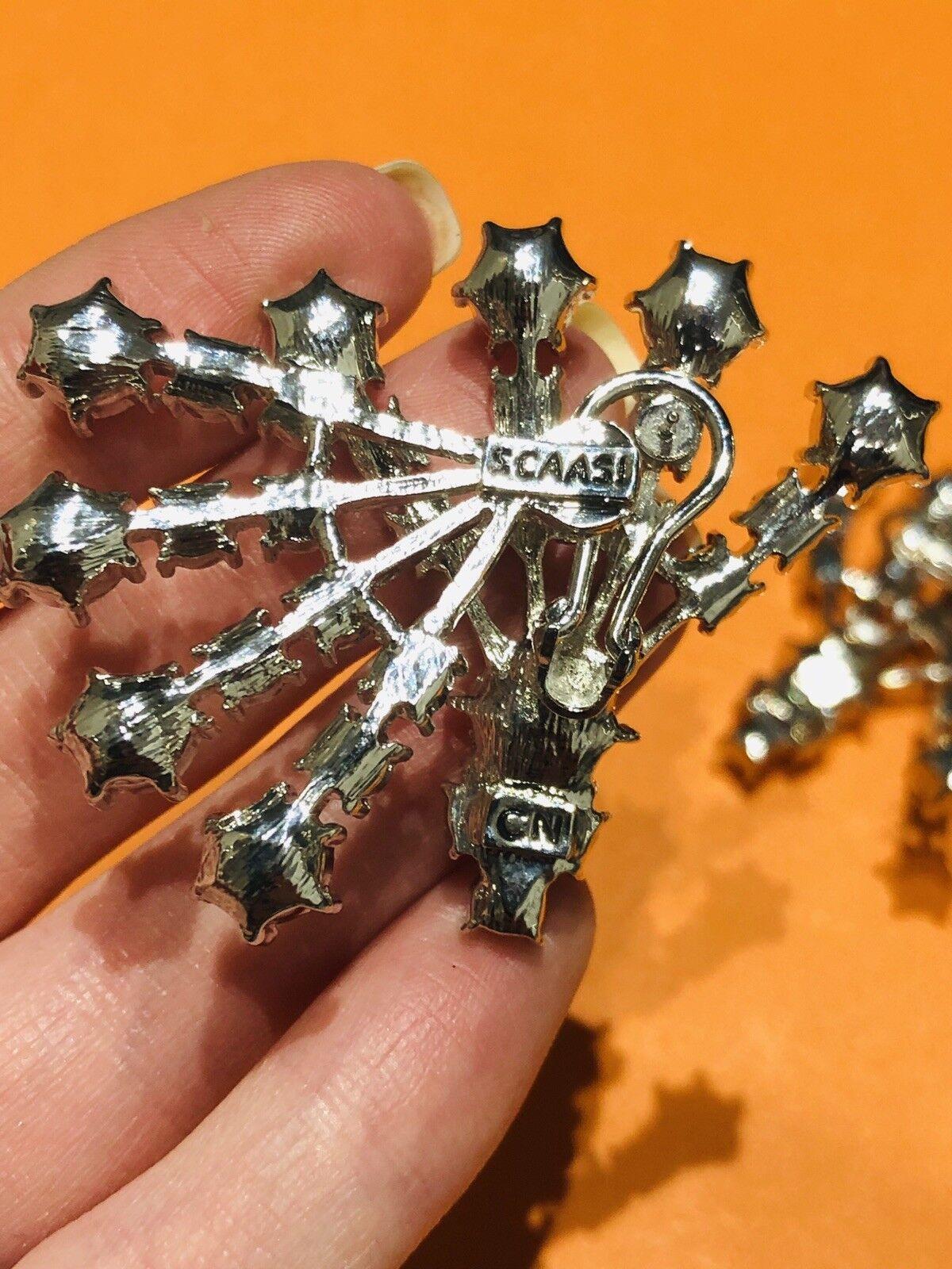Arnold Scaasi Silver Tone Crystal Fan Earrings - image 5
