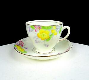 OLD-ROYAL-ENGLAND-2112-YELLOW-AND-PINK-FLORAL-2-3-4-034-CUP-AND-SAUCER-SET