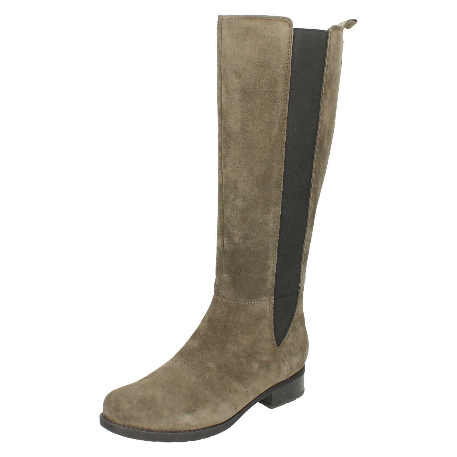 Clarks Ladies Verlie Gail Grey Suede Long Boots Size 5.5 39
