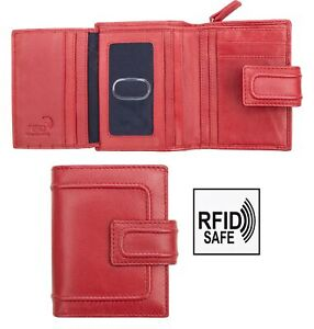 Prime-Hide-Pippa-Woman-039-s-Small-Red-Leather-Trifold-Purse-Wallet-RFID-Blocking
