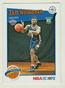 2019-20-Panini-NBA-Hoops-TRIBUTE-296-ZION-WILLIAMSON-RC-Rookie-Pelicans