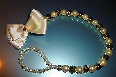 Ivory Gold Bow Special Occasion Crystal Bling Baby dummy pacifier clip chain