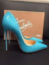 NIB Christian Louboutin So Kate 120 Blue Pacific Python Snake Heel Pump 40 $1395