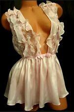 Victoria's Secret Designer Collection Silk Chiffon Ruffle Babydoll Slip S $198